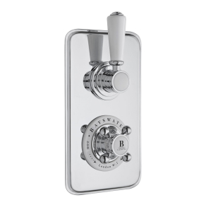 Bayswater Traditional Dual Concealed Shower Valve with Diverter White/Chrome BAY1093