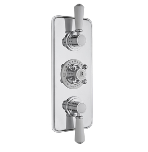 Bayswater Traditional Triple Concealed Shower Valve with Diverter White/Chrome BAY1092