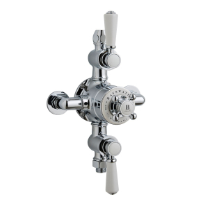 Bayswater Traditional Triple Exposed Shower Valve White/Chrome BAY1090