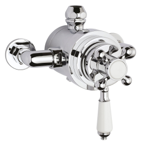 Bayswater Traditional Dual Exposed Concentric Shower Valve White/Chrome BAY1089