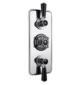 Bayswater Traditional Triple Concealed Shower Valve with Diverter Black/Chrome BAY1084