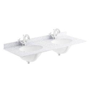 Bayswater White Marble Top Furniture Double Basin 1200mm Wide 1 Tap Hole BAY1115