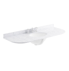 Bayswater White Marble Top Curved Furniture Basin 1200mm Wide 3 Tap Hole BAY1112