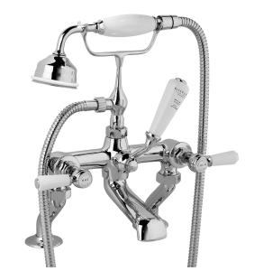 Bayswater Lever Hex Deck Mounted Bath Shower Mixer Tap White/Chrome - BAYT304 BAY1215
