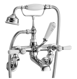Bayswater Lever Hex Wall Mounted Bath Shower Mixer Tap White/Chrome - BAYT310 BAY1218