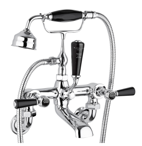 Bayswater Lever Dome Wall Mounted Bath Shower Mixer Tap Black/Chrome - BAYT450 BAY1214