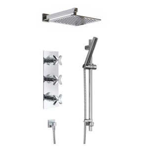 Bristan Designer Glorious Triple Concealed Mixer Shower with Shower Kit + Fixed Head GLORIOUS SHWR PK