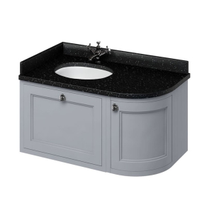 Burlington 100 Curved LH Wall Hung Vanity Unit Black Granite Basin 1000mm 0 Tap Hole - Grey BU10384