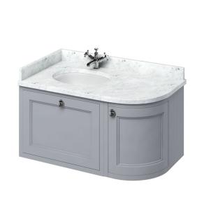 Burlington 100 Curved LH Wall Hung Vanity Unit Carrara White Basin 1000mm 0 Tap Hole - Grey BU10385