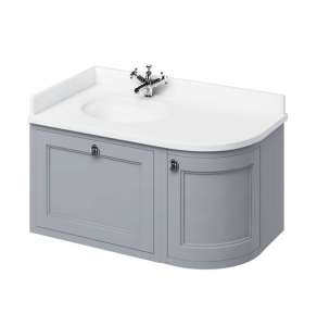 Burlington 100 Curved LH Wall Hung Vanity Unit and White Basin 1000mm Wide Grey - 0 Tap Hole BU10381