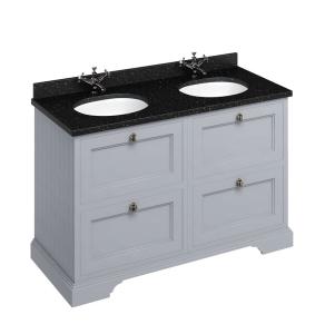 Burlington 130 4-Drawer Vanity Unit and Black Granite Basin 1300mm Grey - 0 Tap Hole BU10334