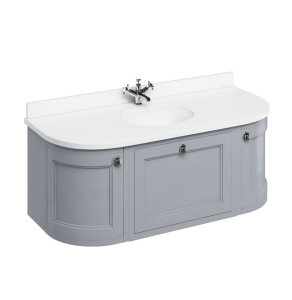 Burlington 134 Curved Wall Hung Vanity Unit and Carrara White Basin 1300mm 0 Tap Hole - Grey BU10351