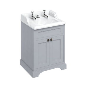 Burlington 65 2-Door Vanity Unit and Basin 650mm Wide Grey - 2 Tap Hole BU10264