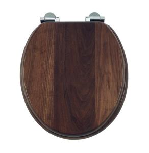 Burlington Standard Moulded Wood Toilet - Seat Soft Close Hinges - Walnut BU10831