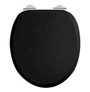 Burlington Standard Moulded Wood Toilet - Seat Soft Close Hinges - Matt Black BU10826
