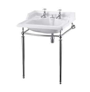 Burlington Classic Invisible Overflow Basin with Chrome Wash Stand, 650mm Wide, 2 Tap Hole BU10194