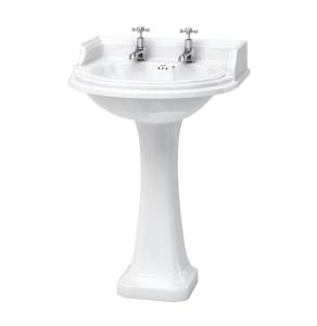 Burlington Classic Round Basin with Full Pedestal, 650mm Wide, 2 Tap Hole BU10146