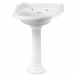 Burlington Classic Round Basin with Full Regal Pedestal, 650mm Wide, 2 Tap Hole BU10144
