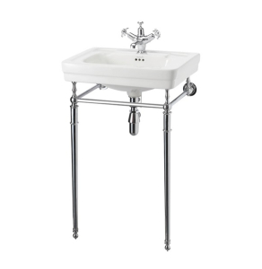 Burlington Contemporary Basin with Regal Chrome Wash Stand, 580mm Wide, 1 Tap Hole BU10179