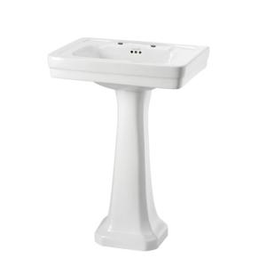 Burlington Contemporary Basin with Regal Full Pedestal, 580mm Wide, 2 Tap Hole BU10117