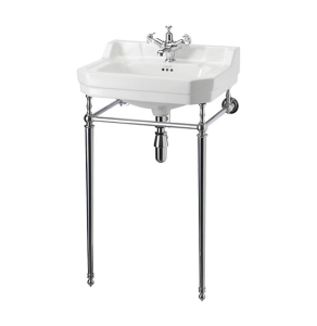 Burlington Contemporary Basin with Chrome Wash Stand, 580mm Wide, 3 Tap Hole BU10155