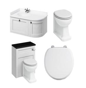 Burlington Furniture Bathroom Suite 980mm Wide LH Vanity Unit Matt White - 0 Tap Hole BU10866