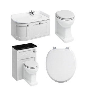 Burlington Furniture Bathroom Suite 980mm Wide RH Vanity Unit Matt White - 0 Tap Hole BU10873