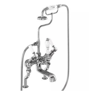 Burlington Kensington Angled Bath Shower Mixer Tap, Pillar Mounted, Chrome - KE19 BU10643