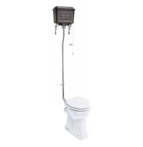 Burlington Regal High Level Toilet Black Aluminium Cistern - Excluding Seat BU10044
