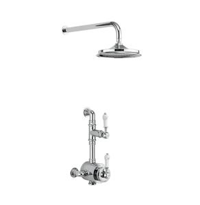 "Burlington Stour Dual Semi-Exposed Mixer Shower With 6"" Fixed Head - BF1S + V16 BU10727"