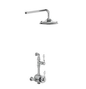 "Burlington Stour Dual Semi-Exposed Mixer Shower With 9"" Fixed Head - BF1S + V17 BU10728"