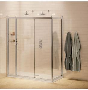 Burlington Traditional Inline Sliding Shower Door, 1600mm Wide, 8mm Glass BU10751