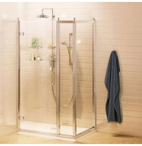 Burlington Traditional Inline Hinged Door Shower Enclosure with Tray 1000mm x 900mm, 8mm Glass BU10764