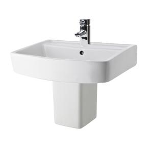Nuie Bliss White Contemporary 520mm 1 Tap Hole Basin & Semi Pedestal - CBL011 CBL011