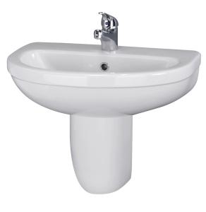 Nuie Ivo White Contemporary 550mm Basin 1 Tap Hole & Semi Pedestal - CIV004 CIV004