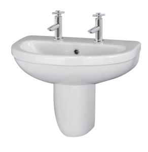 Nuie Ivo White Contemporary 550mm Basin 2 Tap Hole & Semi Pedestal - CIV005 CIV005
