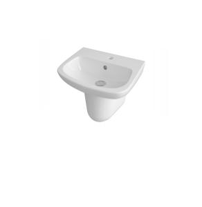 Nuie Ambrose White Contemporary 450mm 1 Tap Hole Basin & Semi Pedestal - CPC023 CPC023