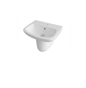 Nuie Ambrose White Contemporary 500mm 1 Tap Hole Basin & Semi Pedestal - CPC024 CPC024
