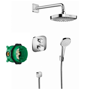 Hansgrohe Croma Select E Shower system with Ecostat E thermostatic mixer for concealed installation with 2 way diverter - 27294000 27294000
