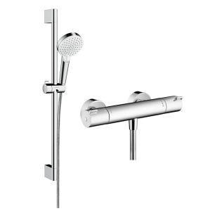 Hansgrohe Crometta Shower system 100 Vario with Ecostat 1001 CL thermostatic mixer and shower rail 65cm - 27812400 27812400