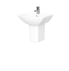 Nuie Asselby White Contemporary 500mm 1 Tap Hole Basin & Semi Pedestal - CSS003 CSS003