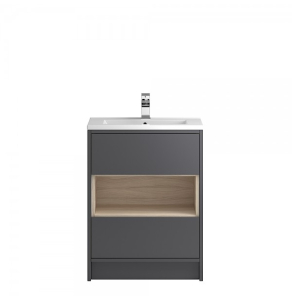 Hudson Reed Coast Grey Gloss Floor Standing 600 Cabinet & Basin 1 - CST876E CST876e