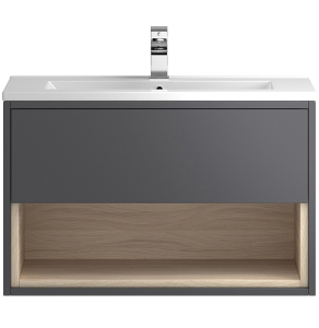 Hudson Reed Coast Grey Gloss Wall Hung 800 Cabinet & Basin 1 - CST888E CST888E