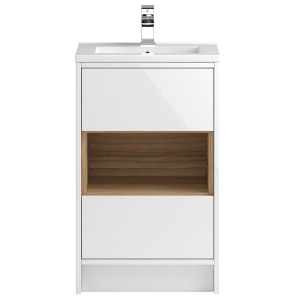 500mm Hudson Reed Coast White Gloss Floor Standing Cabinet & Basin 1 CST974