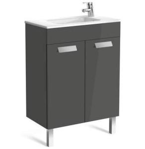 Roca Debba Compact Unik 600mm 2 Door Unit & Basin In Anthracite Grey - 855901153 RO10637