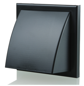 Blauberg Plastic Cowled Hooded Air Ventilation Wind Baffle Wall Grille - 100mm - Black BLA10078
