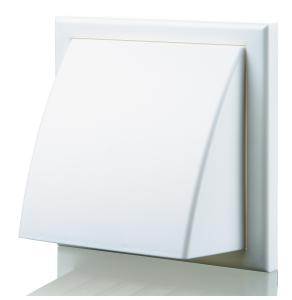 Blauberg Plastic Cowled Hooded Air Ventilation Wind Baffle Wall Grille - 100mm - White BLA10083