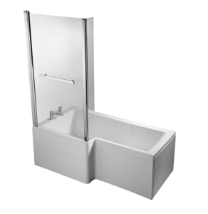 Ideal Standard Concept Bath Screen with Hinged End Panel and Towel Rail 1400mm High - E0508EO IS10637