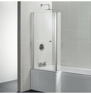 Ideal Standard Tempo Cube Bath Screen with Hinged End Panel and Towel Rail 1400mm High - E2597EO - E2597EO IS10636