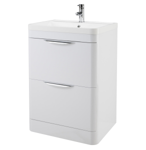 Nuie Parade Gloss White Contemporary 600 Floor Standing 2 Drawer Basin & Cabinet - FPA001 FPA001